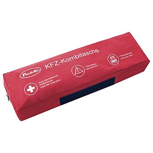 Il set 3 in 1 con la sua custodia di alta qualità include un kit di pronto soccorso prodotto in Germania a norma DIN con una durata molto lunga, e in aggiunta un robusto giubbotto con eccellenti caratteristiche riflettenti e un triangolo di segnalazi...