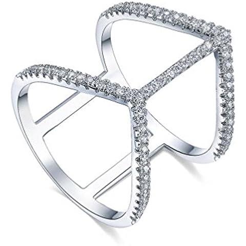 redfly 18ct chapado en oro blanco CZ Cristal Romántico Corazón Doble Anillos Para Las Mujeres, tamaño Q