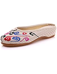 Verano arrastrando, Sandalias Bordadas de Lino, Zapatos Chinos de Tela de Viento de la Mujer.