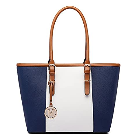 Miss LuLu Women's ladies Designer Celebrity Tote Bags Faux Leather Style Shoulder Shopper Handbags Adjustable Handles(E1661 Navy)