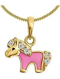 CLEVER SCHMUCK Set Vergoldeter kleiner Anhänger Mini Pony rosa, viele Zirkonia glänzend STERLING SILBER 925 und vergoldeter Kette Panzer 38 cm für Kinder