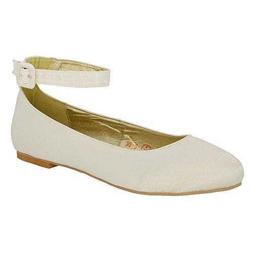 Essex glam scarpa donna avorio satinato ballerina cinturino caviglia tacco piatto sposa eu 38