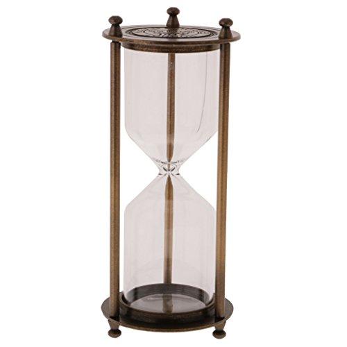 IPOTCH Reloj de Arena de Vendimia de Cocina Ornamento de Escriotorio de Casa - Bronce, Tamaño (DxH): 7 x 16 cm