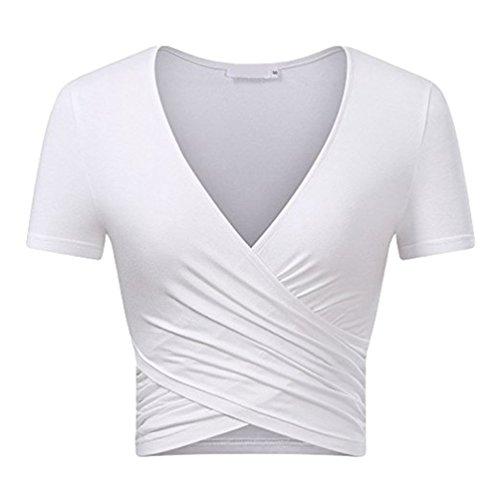 Cayuan Damen Strecke V Hals Kurzarm T-Shirt Kreuz Wickel Yoga Casual Tee Oberteil Tops Sommer Weiß (Kurzarm-wickel-shirt)