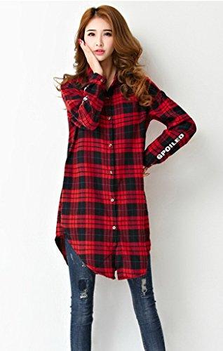 Smile YKK Blouse Grande Taille Femme Chemisier à Carreau T-shirt Longue Tops Manches Longues Rouge