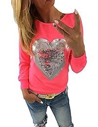 Damen Langarmshirt T Shirt Herbst Winter Tops Basic Elegant Glitzer  Herzförmig Pailletten Bluse Frauen Rundhals Große 64c69dfa28