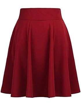 ZhiYuanAN Mujer Skirt Midi Falda Plisada De Color Sólido Con Dos Bolsillos Talla Grande Faldas De Vuelo Casual...