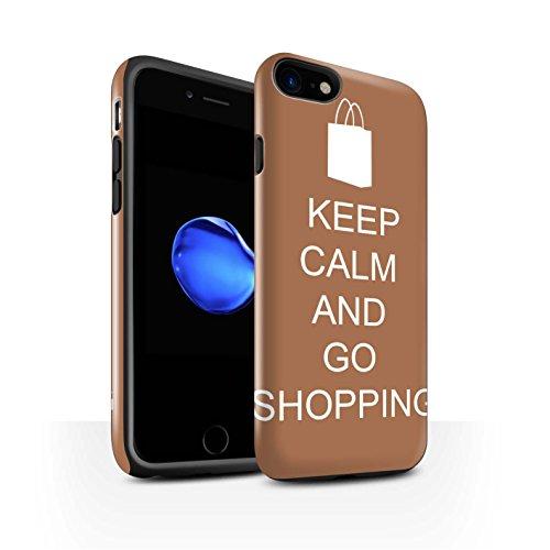 STUFF4 Glanz Harten Stoßfest Hülle / Case für Apple iPhone 8 / Einkaufen Gehen/Braun Muster / Bleib Ruhig Kollektion Einkaufen Gehen/Braun