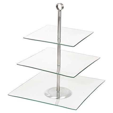 Présentoir à gâteau en verre à deux étages, 3 Tier Square