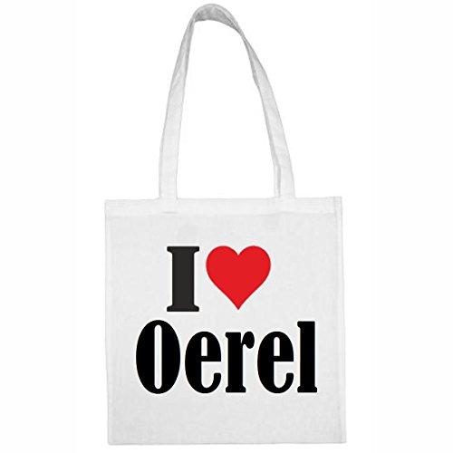 Tasche I Love Oerel Größe 38x42 Farbe Weiss Druck Schwarz