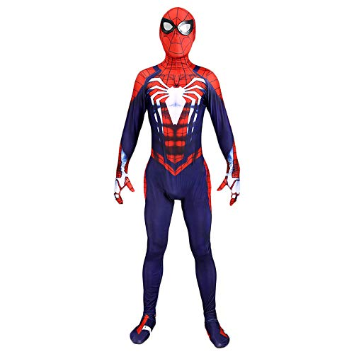 (TUJHGF Spiderman Kostüm Cosplay Erwachsene Siamy Strumpfhosen Halloween Weihnachten Dress Up Party Party Movie Requisiten,A-S)