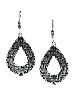 Bindhani Oxidized Silver Plated Fancy Hanging Earrings For Women