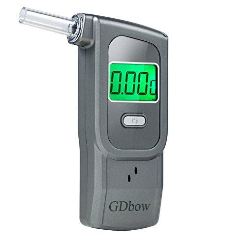 GDbow Alkoholtestgerät, tragbarer Alkoholtester zur Aufnahme von 32 Testergebnissen, mit 5 Mundstücken, Grau