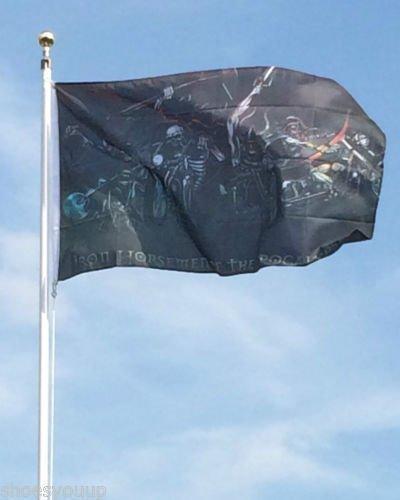 Flagge des Bügeleisens Pferdepfleger APOCOLYPSE 152,4 cm x 91,44 cm, Pirat, Biker, Deko Garten Gartenzwerg Figuren Dekoration (Gartenzwerg Biker)