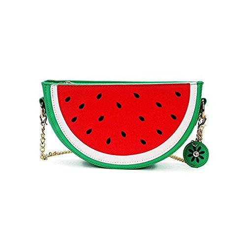 OURBAG Damen Kleine Wassermelone Orange Kette Tasche Handtasche Mädchen Rot Umhängetasche Schultertaschen Wassermelone
