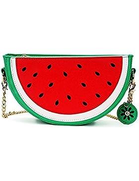 OURBAG Damen Kleine Wassermelone Orange Kette Tasche Handtasche Mädchen Rot Umhängetasche Schultertaschen