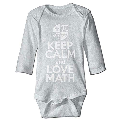 MSGDF Unisex Toddler Bodysuits Keep Calm Love Math Girls Babysuit Long Sleeve Jumpsuit Sunsuit Outfit Ash
