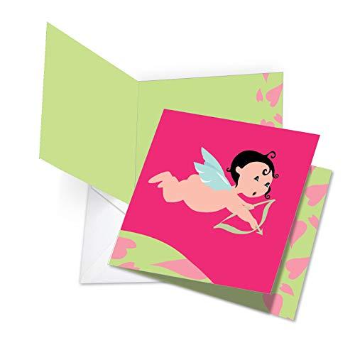 jq5158vdg New Jumbo square-top Funny Valentine 's Day Karte: Amor Puppe, mit Umschlag (für große: 21x 24,8cm)