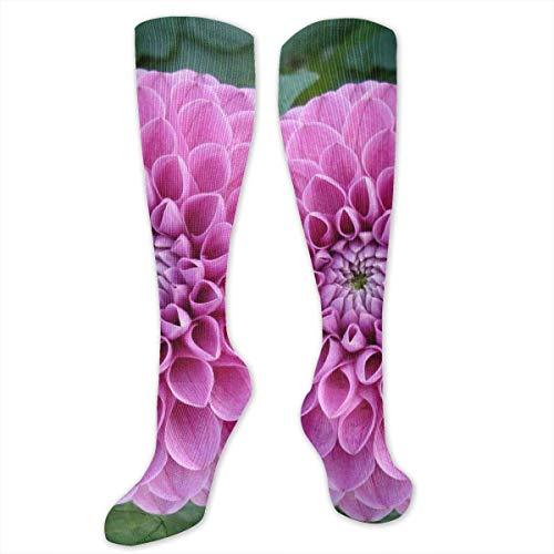 Kotdeqay Handmade Pink Flower Polyester Cotton Over Knee Leg High Socken Funny Unisex Thigh Stockings Cosplay Boot Long Tube Socken for Sports Gym Yoga Hiking Cycling Running Soccer