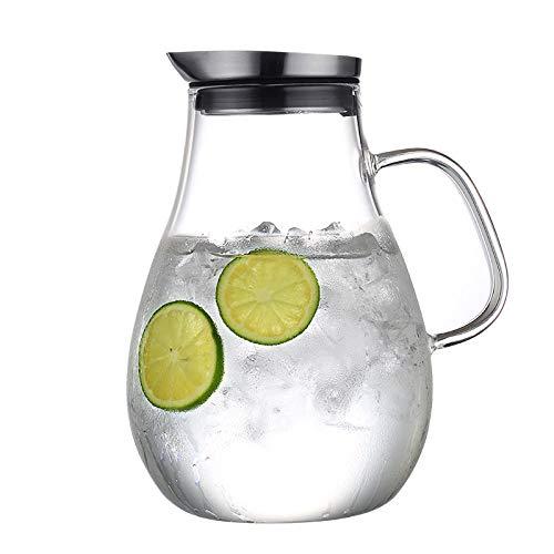 SGXDMsh 2.5 Liter Glaskrug mit Deckel und Verbrühschutz Griff, Kann direkt erwärmt Werden und Tropft Nicht,Wasserkaraffe mit Edelstahl Filter Krug für heißes/Kaltes Wasser, Eistee und Saftgetränk (Wasser-filter Glas-krug)