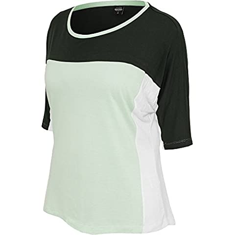 Ladies 3-tone 3/4 Sleeve Tee d.grn/mint/wht