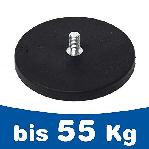 Neodym Magnet-System gummiert Gewindezapfen - Durchmesser: Ø 22 mm bis Ø 88 mm - Gewinde-Zapfen: M4 bis M8 - Haftkraft bis 55 kg - NdFeB Magnetsysteme mit Gummimantel - Anti-Rutsch-Beschichtung, Größe:Ø 66mm   M8x15   25kg Haftkraft
