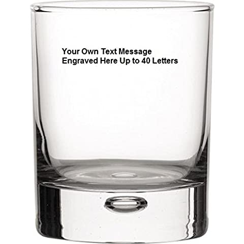 Personalised engraved 8oz Bubble glass with 5cl Miniature Sailor Jerry in Silk Lined gift box