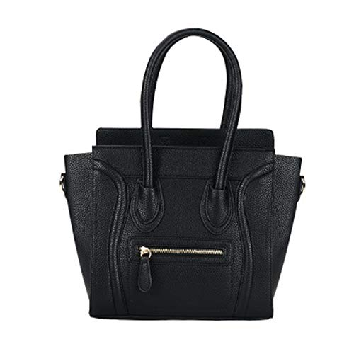 Schwarz-schulter-handtaschen (Damen Smiley Diagonale Tasche Nähen Handtasche Schulter OL Pendler Tasche wilde Retro-Tasche (Schwarz, 36×26×14×27cm))
