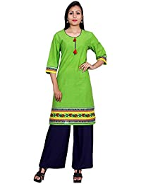 Teej Women's Designer Hand Work Cotton Kurti Navy Blue Rayon Palazzo Dress