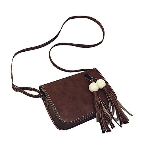Longra Cuoio di modo delle donne di sacchetto nappe borsa Croce corpo spalla Marrone_B
