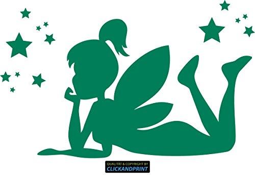 CLICKANDPRINT  Aufkleber » Fee/Tinkerbell liegend, 170x105,2cm, Grün • Wandtattoo/Wandaufkleber/Wandsticker/Wanddeko/Vinyl