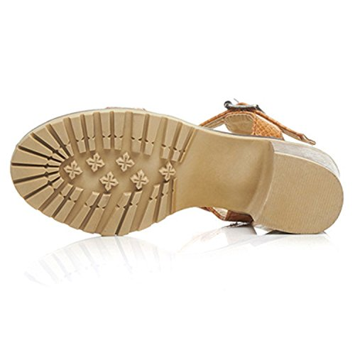 Oasap Women's Open Toe Ankle Strap Rivet Chunky Heels Sandals white