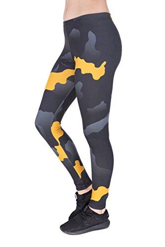 Damen Sport Leggings Hipster Jogahose Muster Sporthose Mädchen Lang Treninganzug Blogger Fullprint Onesize ORAGNE GRAY CAMO