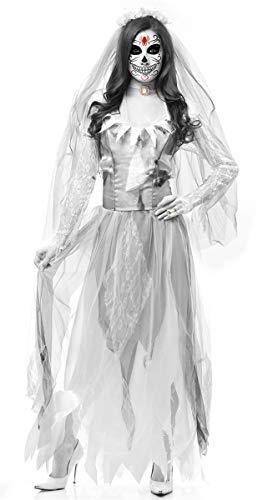 Spiel Des Kostüm Todes - LCXYYY Damen Kleid Hochzeitskleid Länge Tüll Horror Geisterbraut Zombie Vampir Erwachsener Cosplay Verkleidung Kostüme für Karneval und Halloween Weihnachten Sensenmann Tod Mittelalter Spiel Kostüm