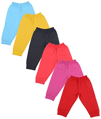 Firstvibe Baby Kids Soft Cotton Track Pants with RIbs, Pack of 6 (HCTPPM_P6, Multi-Coloured, 6-12 Months)