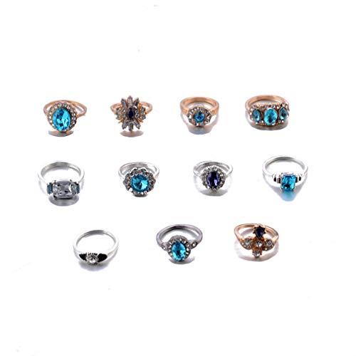 Pinhan Vintage Sapphire Edelstein q Joint Ring Set Modeschmuck Zubehör Geburtstag