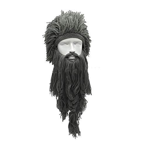 Unisex Verrückte Perücke Lange Bart Vikingar Mützen Wikinger Hüte Handgemachte Winter Cosplay Geschenke Lustige Halloween Kostüme Caps Gray