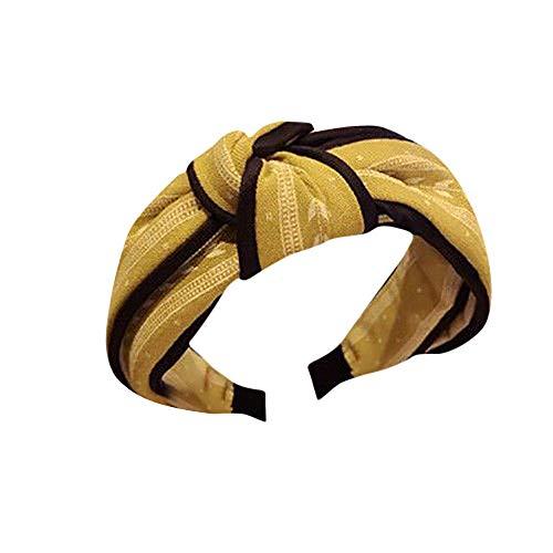 LUGOW Damen Yoga Stirnbänder Elastic Nettes Turban Geknotetes Bandanas Turban Head Wraps Hair Beads Breit Haarbänder Haarreife Haarspangen Haargummis Haarschmuck(Z04191-Gelb)