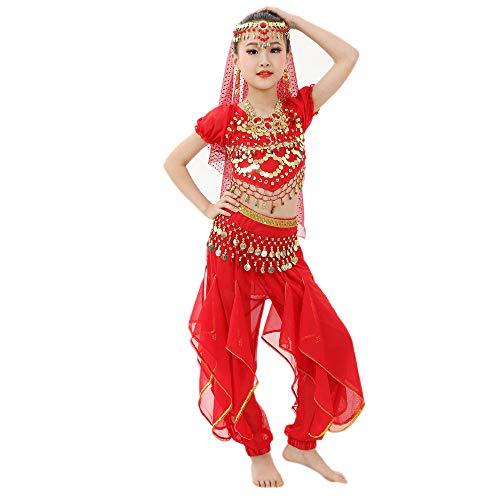 Dance Kostüm Fancy Indische - Mädchen Bauchtanz Kostüme Kinder Bauchtanz Ägypten Tanzkleid Kurzarm Top + Pluderhosen 2 PCS Piebo Indische Bollywood Orient Kostüme Belly Dance Pailletten Karneval kein Kopftuch, Keine Hip Schal