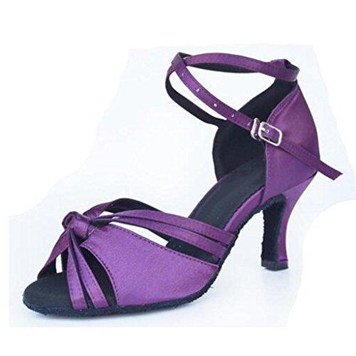 W&LM Signorina Scarpe da ballo Bottone morbido Scarpe da ballo latino Amicizia Standard nazionale Scarpe da ballo moderne Purple