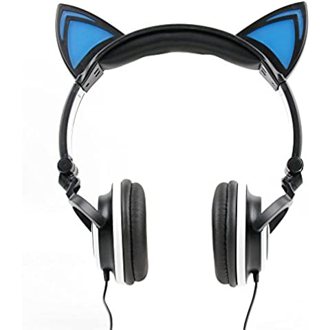 DURAGADGET Auriculares plegables estéreo con diseño de orejas de gato en color negro.