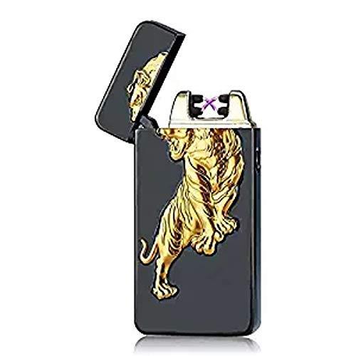 SHUNING Encendedor Electrico de Doble Arco USB Encendedores Electricos,Mechero Eléctrico, USB Recargable Cigarrillos Encendedor de Plasma (Tigre Negro)