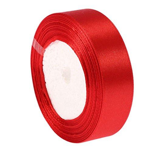 Doppelseitigen Satinband (25 MM Breite) DIY Bunte Bandrolle für Weihnachten Hochzeit Dekoration 25 Yards Länge (Double Sided Satinband Red)