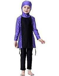 Ababalaya 2-12 Jahre Alt Muslimischen Islamische Mädchen 2-Stück Volle Deckung Langarm Lange Hosen Hijab Burkini Badeanzug