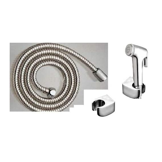 INDOROX Health Faucet Shower Toilet Jet Spray with Wall Bracket and 1 m Flexible Hose (Silver, Standard Size)