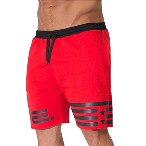 MOIKA Herren Sportshorts, Sommer Männer Sport Training Bodybuilding Sommer Shorts Workout Fitness Kurze Hosen Printed Workout Leggings Fitness Laufen Yoga Sportlich Pants(2XL,Rot)