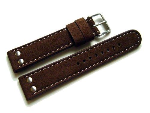 Orig. Watchband Berlin - Uhrenarmband - Wasserbüffel - 2 Nieten - dunkelbraun - 22mm