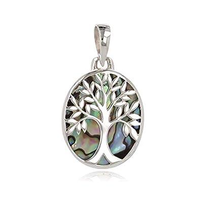 idée cadeau anniversaire maman-Cadeau bijoux symbole Arbre de vie-Pendentif-Nacre abalone-Argent massif-ovale-unisexe
