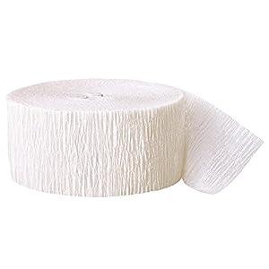 Unique Party- Serpentina de papel crepé para fiestas, Color blanco, 24 cm (6300)