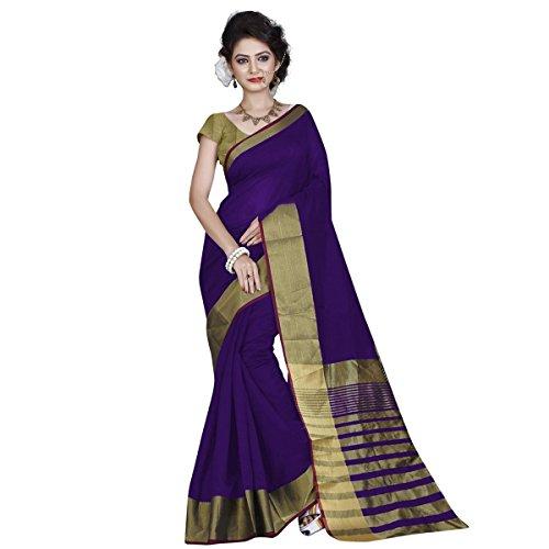 RadadiyaTRD Cotton Silk Saree With Blouse Piece (Pallu Blue_Blue_Free Size)